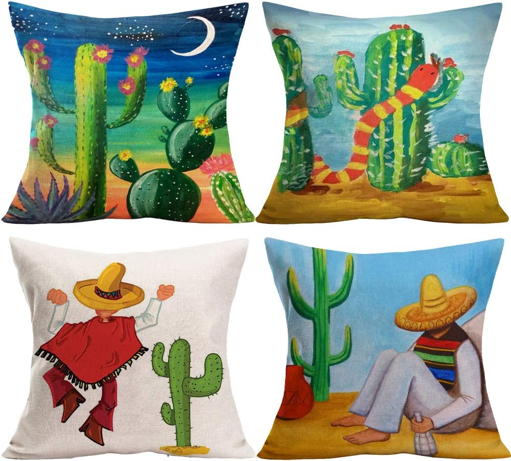 "YANGYULU Tropical Plant Cactus Fern Leaf Potted Cotton Linen Home Decorative Cartoon Mexico Cactus Farmers Throw Pillow Case Cushion Cover for Couch Sofa Bed 18"" x 18"" Set of 4 (Mexican Cactus)"