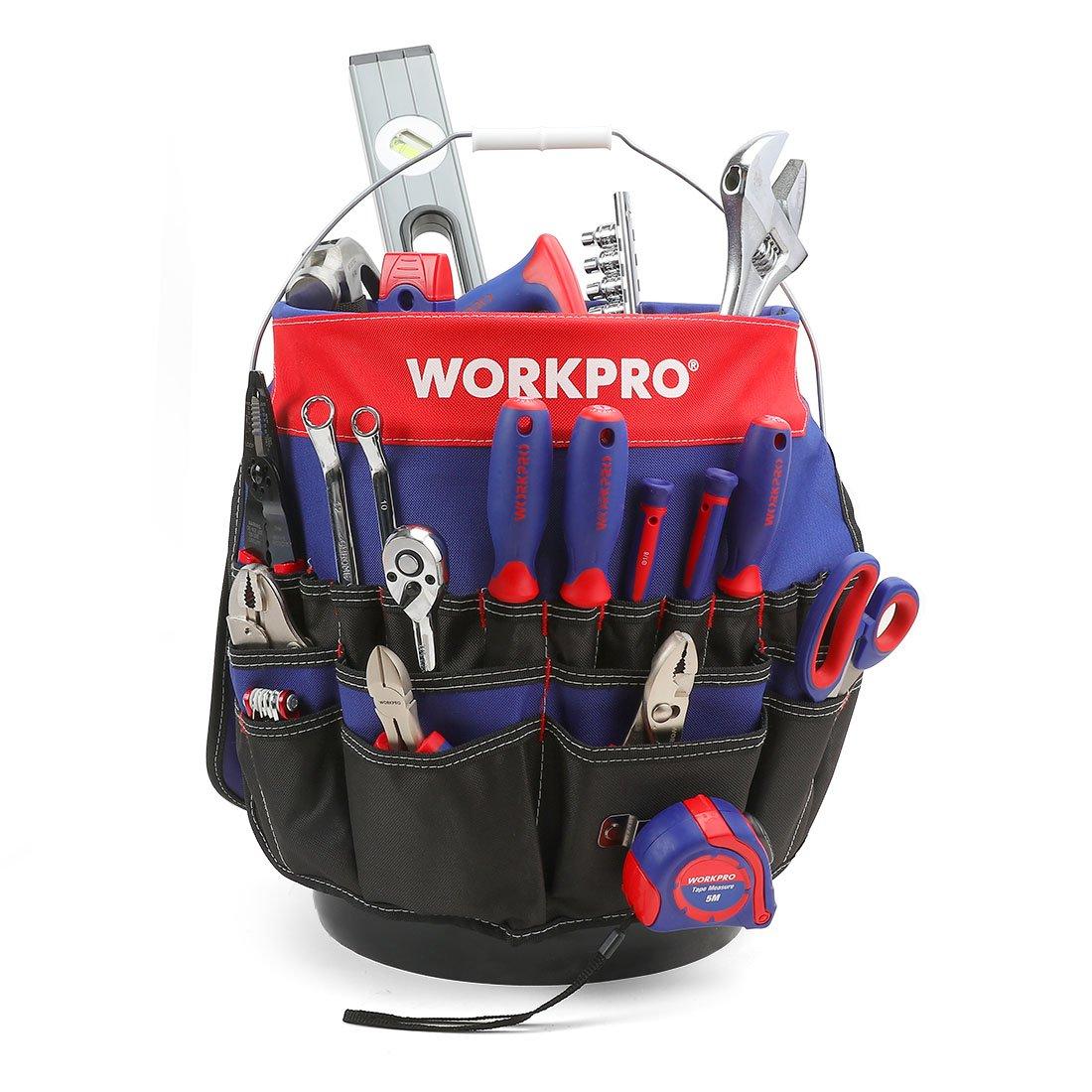 WORKPRO Bucket Tool Organizer with 51 Pockets