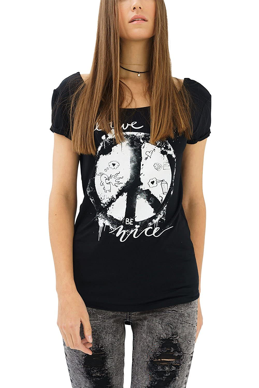 trueprodigy Casual Mujer Marca Camiseta con impresión Estampada Ropa Retro Vintage Rock Vestir Moda Cuello Redondo Manga Corta Slim Fit Designer Fashion T-Shirt