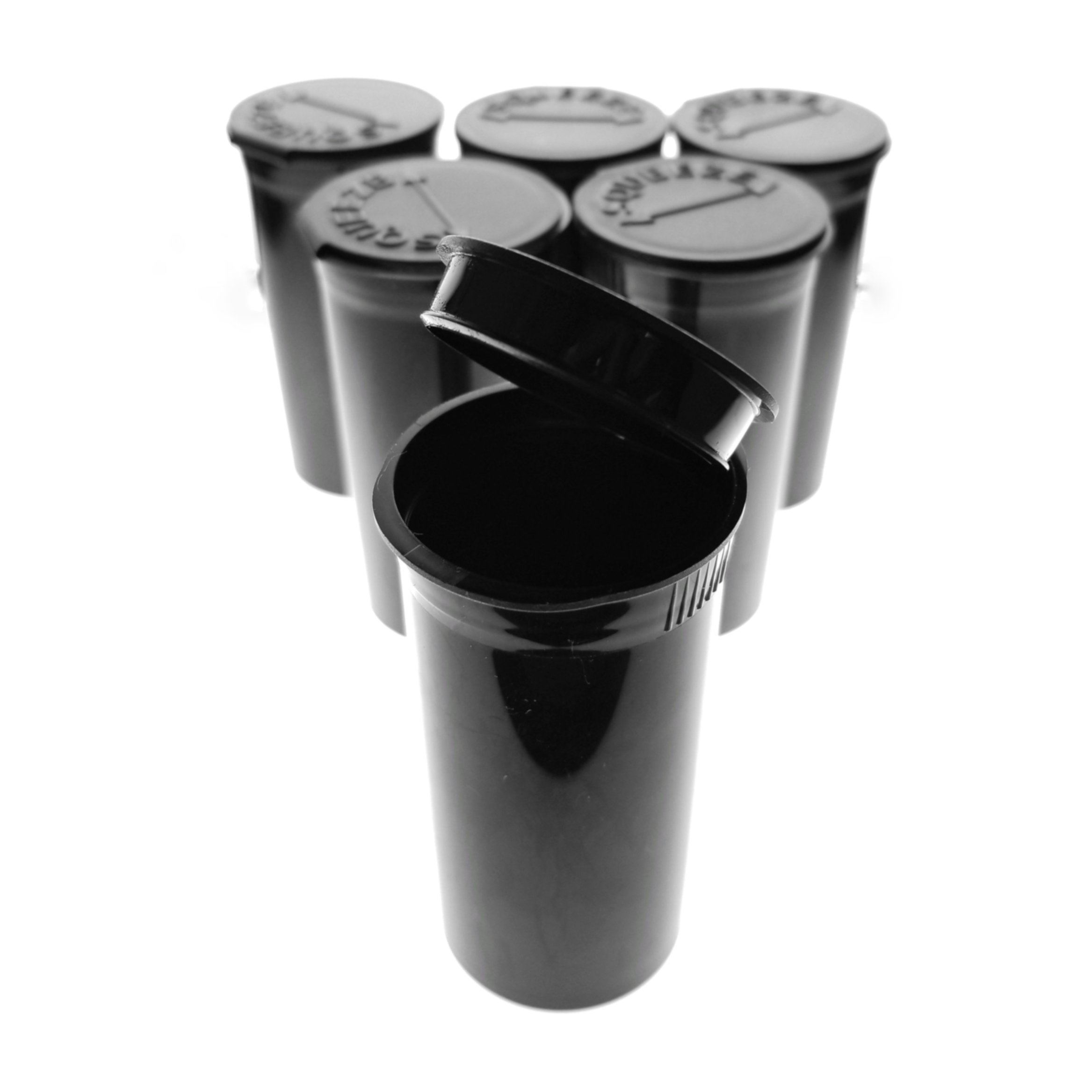 50 Pack of Black 13 Dram Pop Top Bottle Rx Vial Medical Grade Pill Box Herb Container by Van Cave
