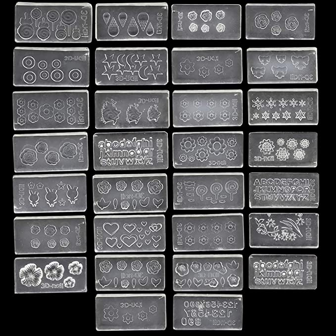 Amazon Com Shelloloh 30 Unids Set 3d Silicona 30 Unids Nail Art Molds Mix Design Diy Nail Art Decortive Acrílico Molde Para Uñas Arte Beauty