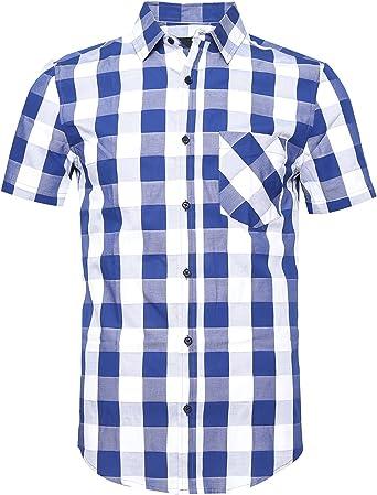 SOOPO Camisa de Manga Corta Occidental para Hombres con Mangas Cortas y Botones, Varios Colores y tamaños