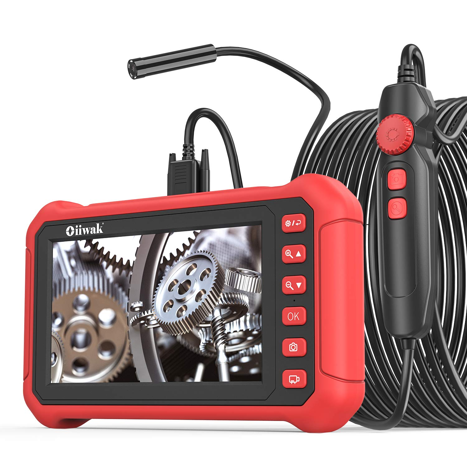 Oiiwak Industrial Endoscope 5.0 MP Borescope Inspection Camera with 7