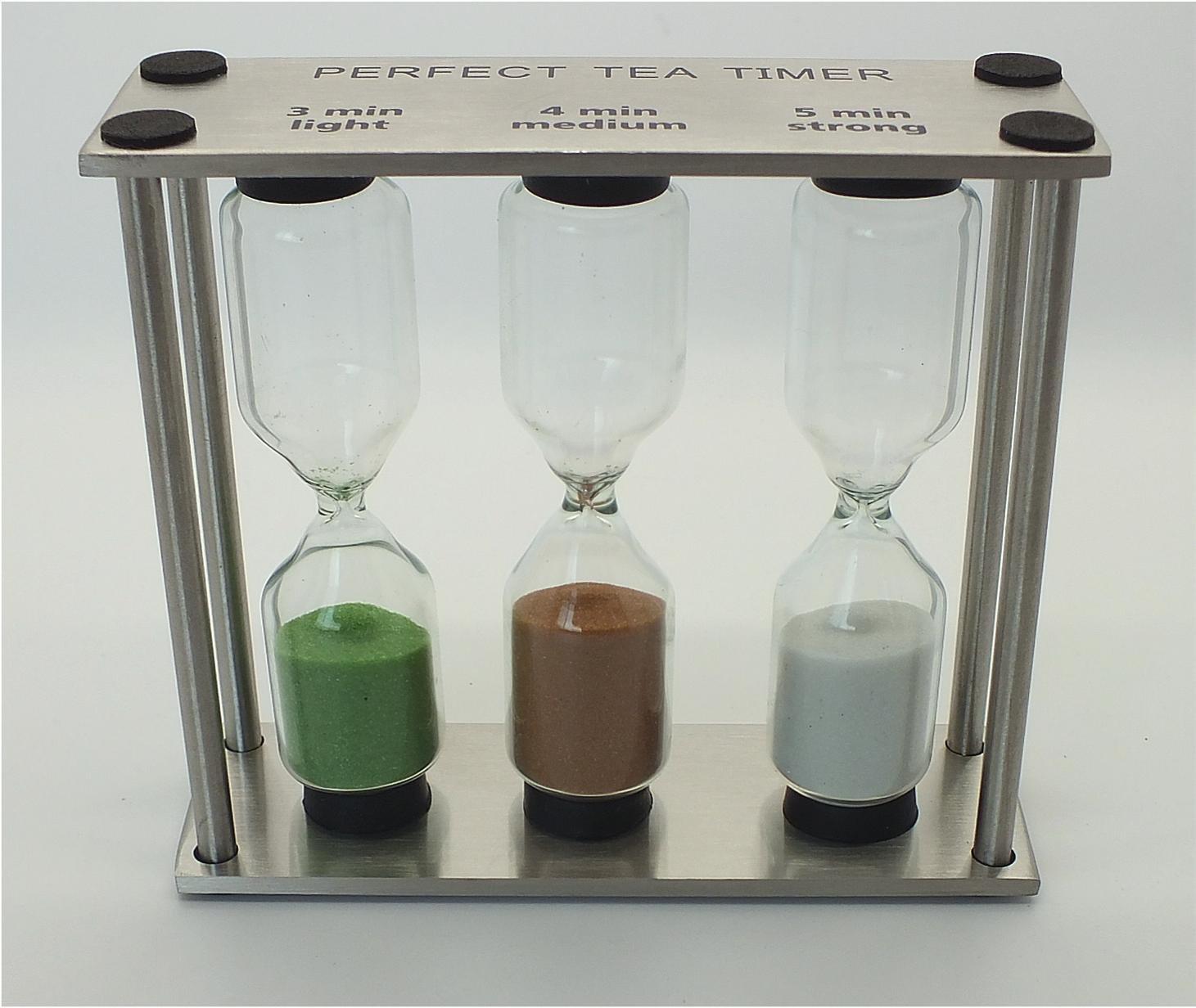 Teatimer, Teeuhr, Hourglass, three times, stainless steel, glass Teeblume