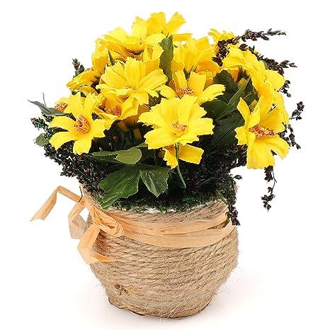 rerxn margaritas bonsai artificial Mini flores de seda arreglo Pastoral para el hogar Boda Decoración