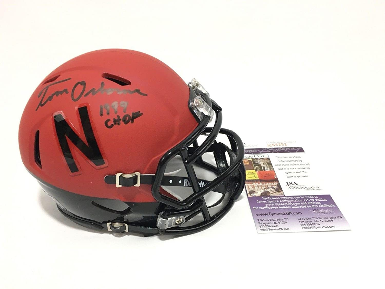 e0dee2adadc Amazon.com  Tom Osborne Signed Nebraska Cornhuskers Mini Helmet CHOF 1999 -  JSA Certified - Autographed College Mini Helmets  Sports Collectibles