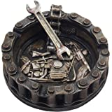 Decorative Motorcycle Chain Ashtray with Wrench and Bike Motif Great for a Biker Bar & Harley Mechanics Shop Smoking…