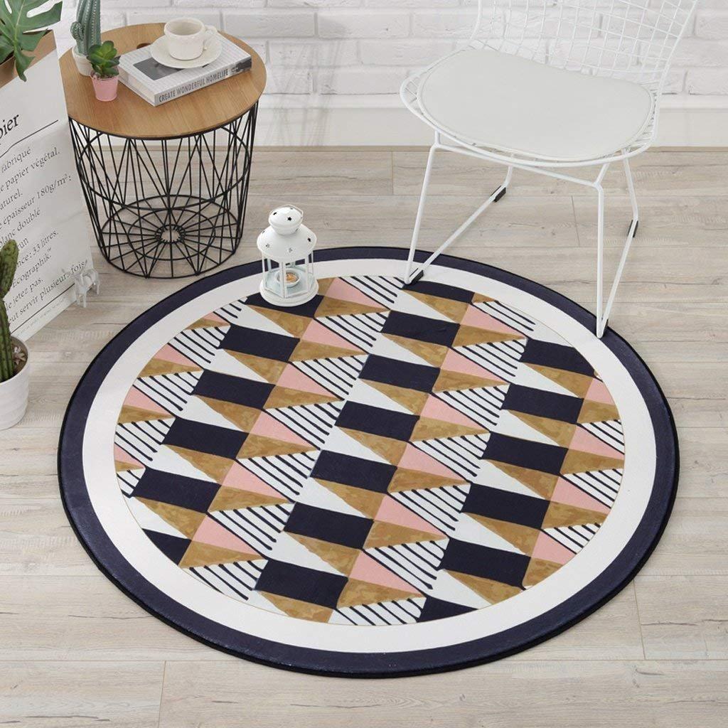 JU Teppich Teppich, Teppich geometrische Muster Runden Teppich, Kinder 'S Kissen Zimmer Computer Stühle Bodenmatte, Wohnzimmer Schlafzimmer Korb Runden Teppich