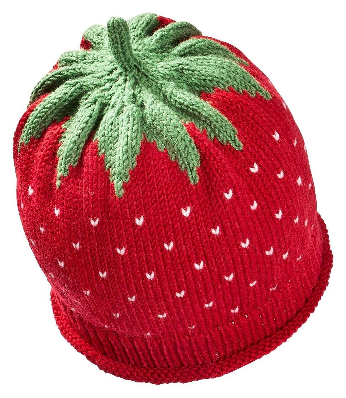 Newborn Erdbeermütze aus warmer Schurwolle in rot, Kopfumfang 34-36cm