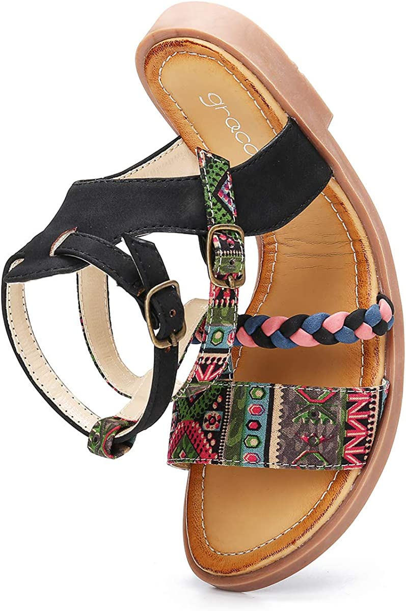 Black Green Brown Camfosy Women Flat Roman Sandals,Ladies Ankle Strap Strappy Sandals Bohemia Colorful Flip Flops Boho Beach Lightweight Vacation Party Walking Shoes