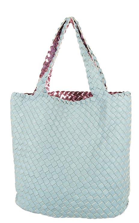 90f63ad27250c CASAdiNOVA Damen Wendetasche XXL 2 in 1 SET Flecht Optik Shopper Große  Handtasche Tasche Groß Rosa