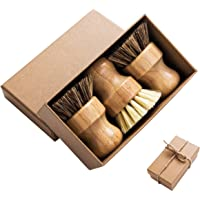 Palm Pot Brush- Bamboo Round 3 Packs Mini Dish Brush Natural Scrub Brush Durable Scrubber Cleaning Kit with Union Fiber…