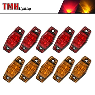 10 Pcs TMH 2.5 Inch Set 5 Amber Lens + 5 Red Lens Super Flux LED Side Marker Fender Light 12V DC Universal for Trucks RV Cab Pickup Tractor Bus Lorry Jeep Trailer Flatbed Surface Mount 2 Diodes AA12: Automotive