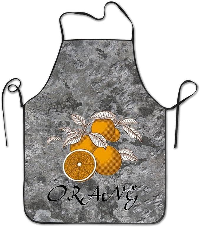 Delantal de vinilo resistente pintado a mano en color naranja para ...