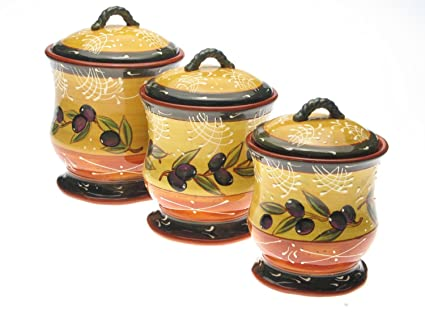 Beau Kitchen Canister Sets Ceramic Hand Painted French Olives Country 3 Pieces