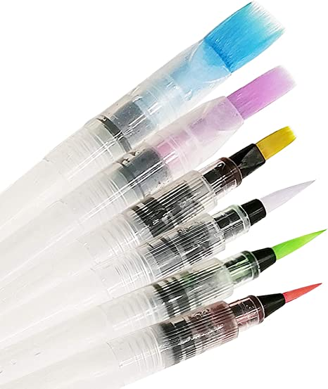 Set of 6 Water Color Brush Refillable Drawing Art Pens Watercolor Painting Pen