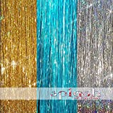 "20"" Hair Tinsel 300 Strands Three Amazing Colors (Sparkling Silver, Sparkling Gold, Shiny Turquoise Blue)"