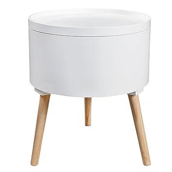 Beistelltisch mit stauraum  Design Beistelltisch MULTI TALENT rund mit abnehmbarem Deckel weiß ...