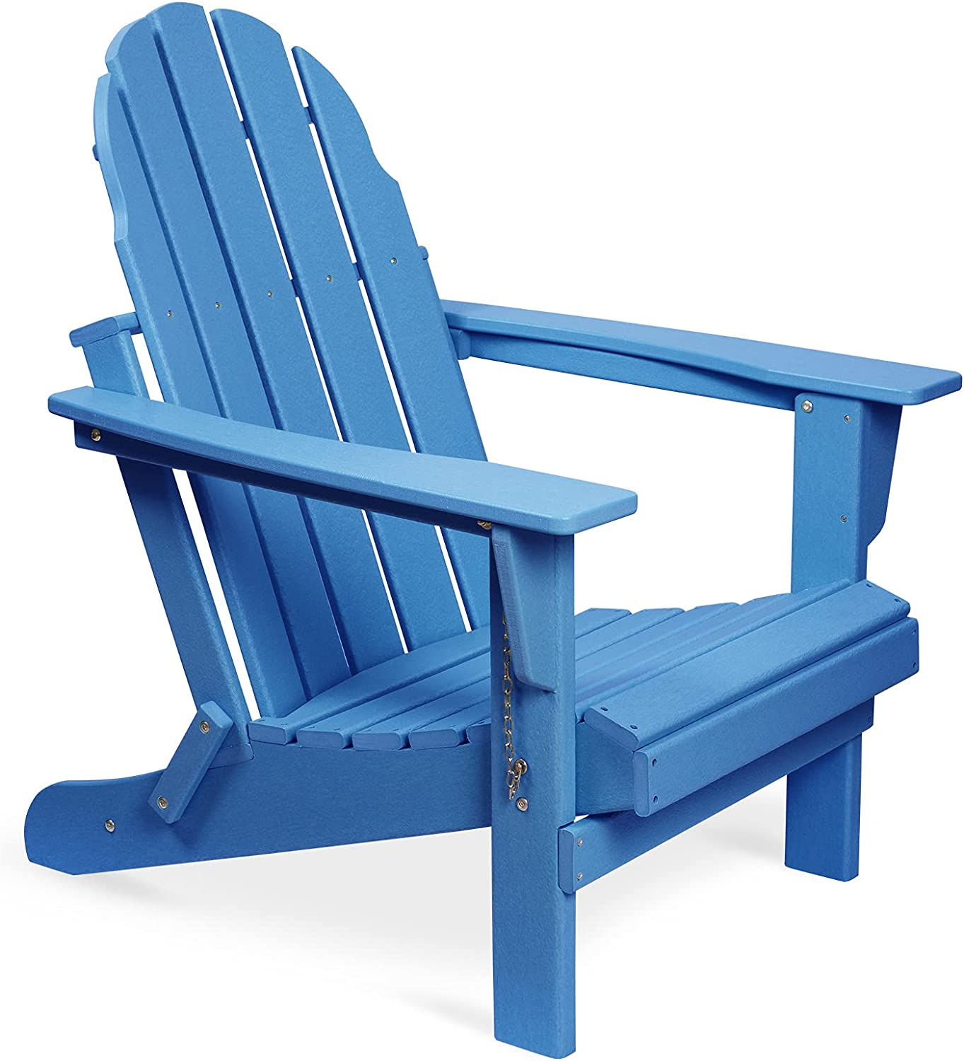 Folding Adirondack Chair, Patio Outdoor Chairs, HDPE Plastic Resin Deck Chair, Painted Weather Resistant, for Deck, Garden, Backyard & Lawn Furniture, Fire Pit, Porch Seating by Gettati (Navy)