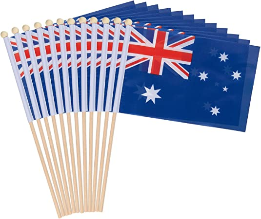 Amazon Com 12 Piece Australia Stick Flags Australian Hand Held Flags Polyester Country Stick Flag Banners Decorations For Parties Parades Sports Events And International Festivals 5 5 X 8 3 Inches Garden Outdoor