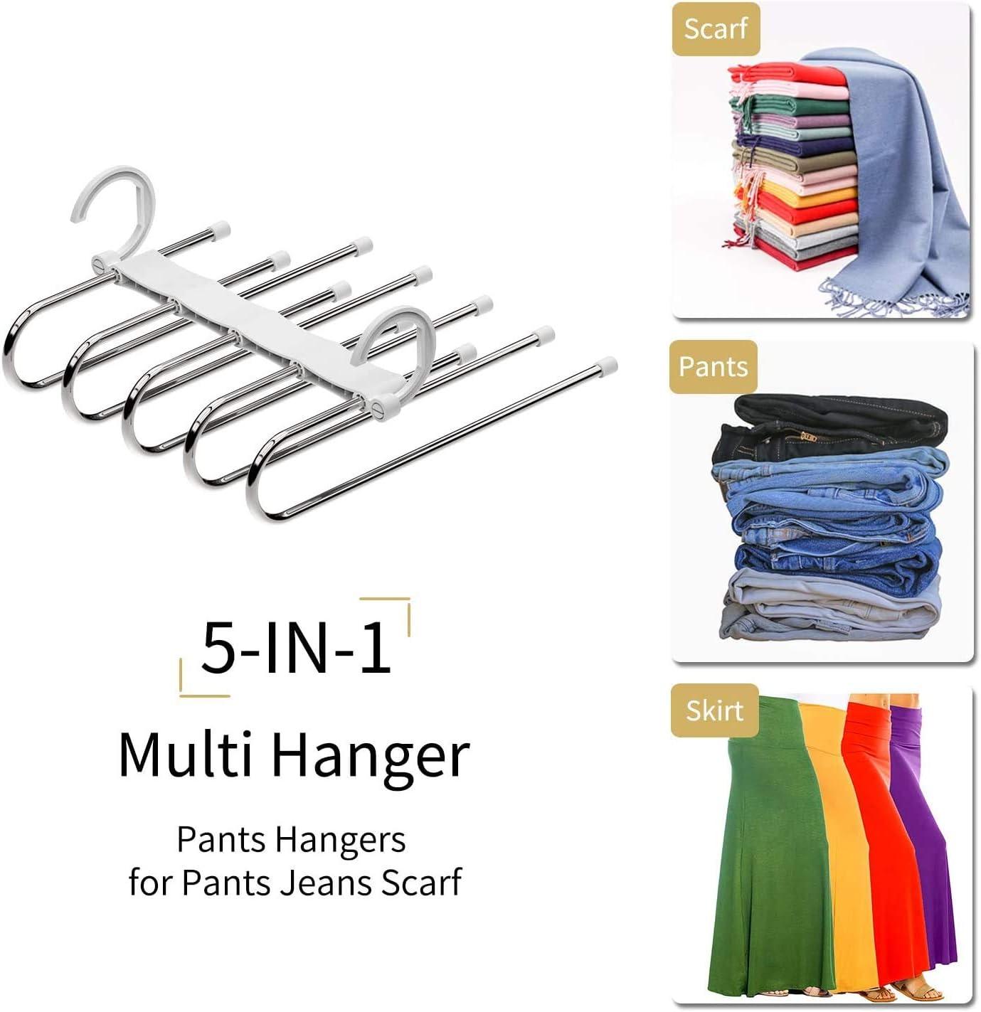 Fulfun Perchas para pantalones de ahorro de espacio 2 ganchos m/ágicos para percha de ropa etc. pantalones camisetas polos varios estantes para pantalones vaqueros