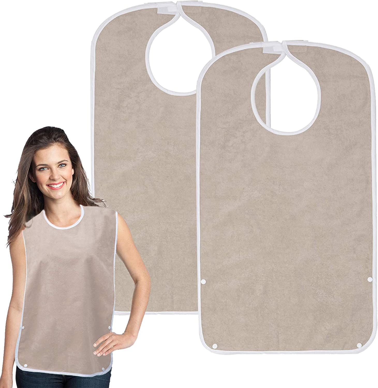 Adult Bib for Eating, Large Terry Clothing Protector with Optional Crumb Catcher