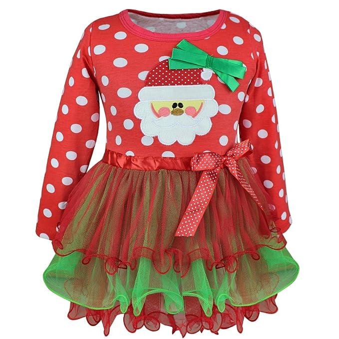 iixpin Navidad Fiesta Vestido Bebe Niña Disfraz Papá Noel Imprimir Tutú Vestidos  Niña Invierno Ropa Nina Oferta Manga Larga Princesa Vestido Bowknot 1-5 ... 20770fa1eef