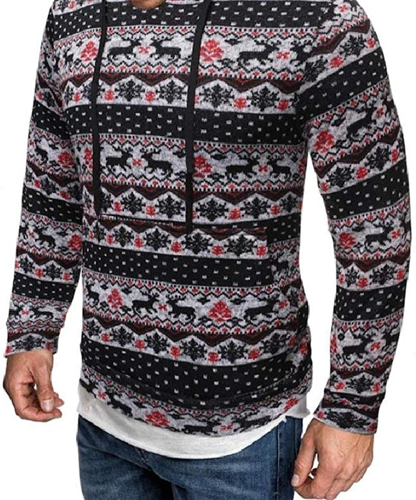 VITryst-Men Casual Long Sleeve with Pocket Hood Tribal Pullover Shirts Top