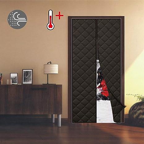 WISKEO Cortina Termica Aislante Frio Exterior Térmica ProteccióN Impermeable Tela Oxford Puertas Correderas - Negro 170x210CM: Amazon.es: Hogar