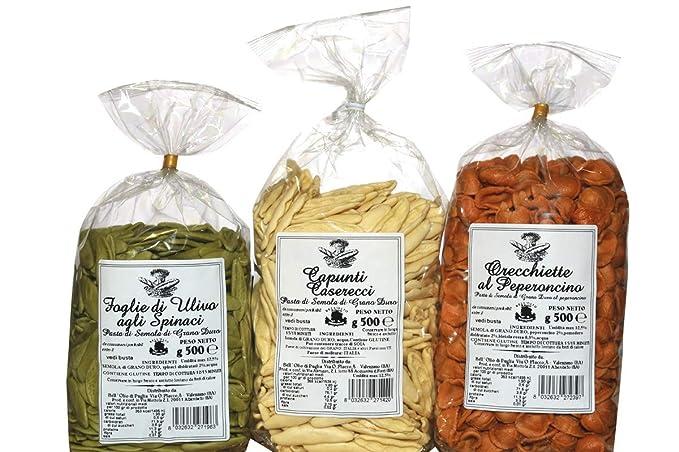TRIS Pasta Tricolore. Orecchiette con chile picante. Hojas de Oliva con Spinach. Trigo