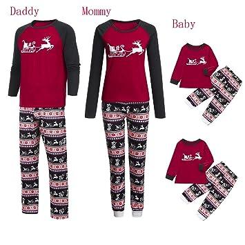 9de713058a705 Parent-Enfant Vêtements de Noël Ensemble Pyjama Famille Père Noël Mère Garçon  Fille du Nouveau