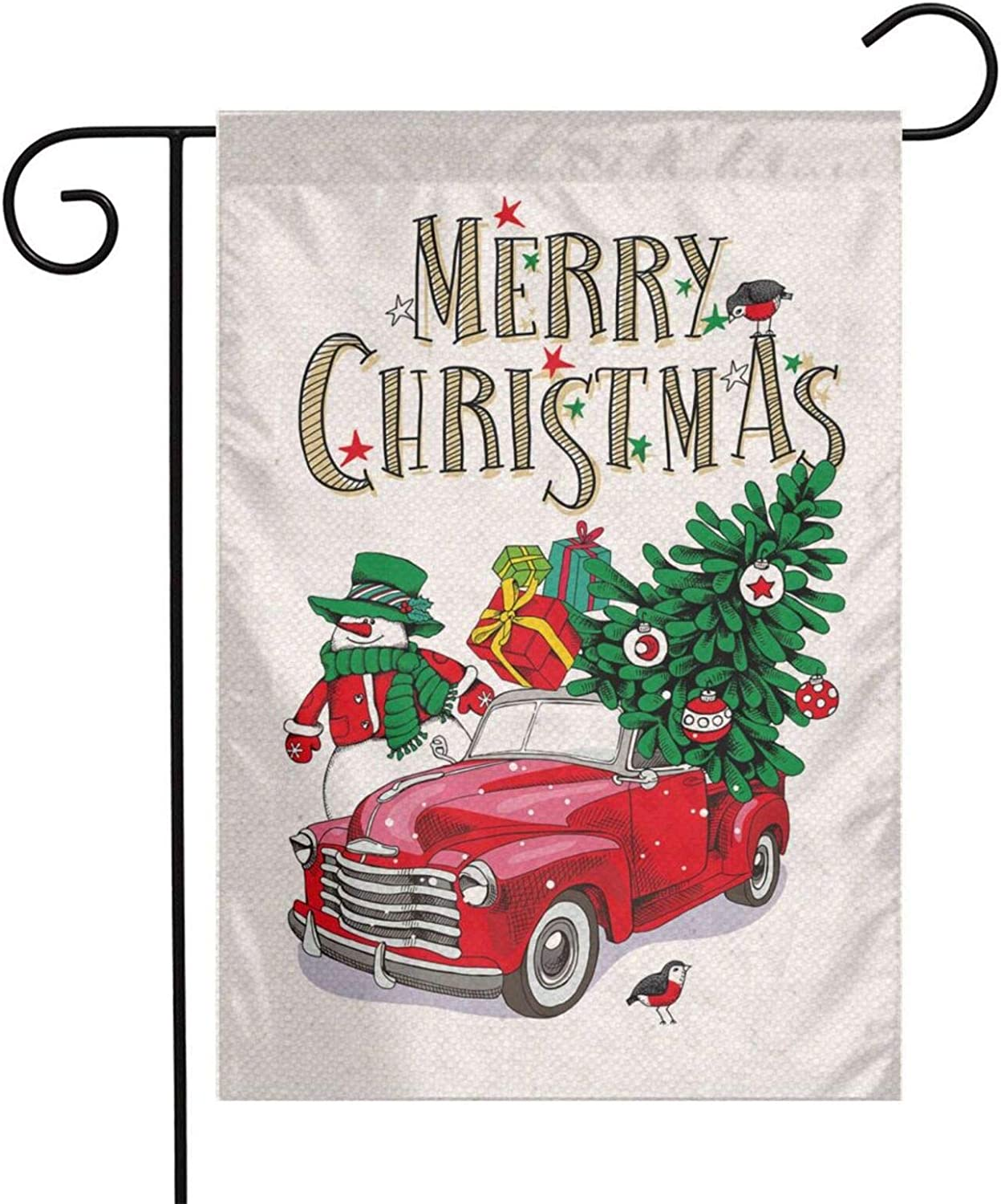 YANGHOME Merry Christmas Snowman Red Truck Tree Gift Bird Burlap Garden Porch Lawn Flag Farmhouse Decorations Mailbox Decor Welcome Sign 12x18 Inch Small Double Sided Flax Nylon Linen Fabric