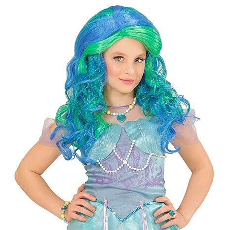 Amakando Peluca Infantil Sirena - Azul-Verde | Peluca Larga Azul | Cabello de Elfo