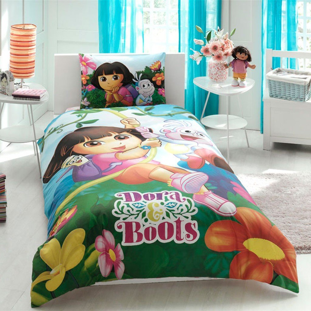 Disney Dora And Boat's Girl's Duvet/Quilt Cover Set Single / Twin Size Kids Bedding