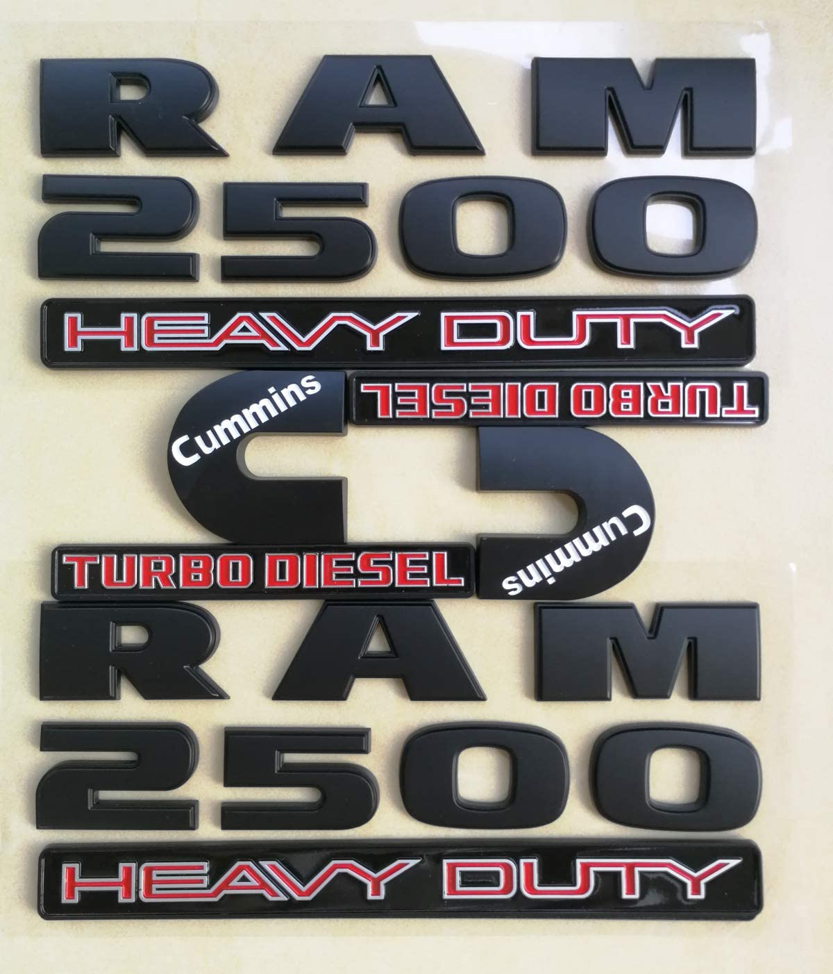 2Pieces 2500 Heavy Duty /& 2Pieces Cummins Turbo Diesel Emblem Nameplate Black 3D ABS Stickers Decals Badge for Ram 2500