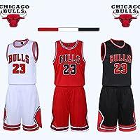 unbrand Ragazzi Uomo NBA Michael Jordan # 23 Chicago Bulls Retro Pantaloncini da Basket Summer Jerseys Basket Maglie Uniforme Top e Shorts