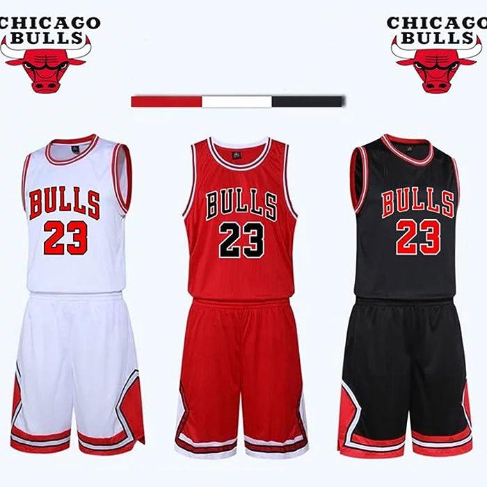 Chico Hombre NBA Michael Jordan   23 Chicago Bulls Retro Pantalones Cortos  de Baloncesto Camisetas de Verano Uniformes y Tops de Baloncesto Uniformes fae719b4b79