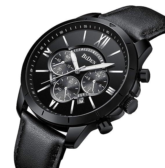 b239f7abf500e Watch, Mens Watches Luxury Sport Military Classic Wrist Watch Black Blue  Fashion Chronograph Waterproof Quartz Leather Watch (Black1): Amazon.co.uk:  Watches