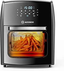 MOOSOO Air Fryer, 12.7QT Air Fryer Oven, Rotisserie Oven with LED Digital Touchscreen, 8-in-1 Toaster Oven with Dehydrator,Rotisserie & Bake,1700 W, Included 10 Accessories + 100 Recipes