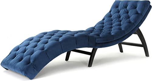 Christopher Knight Home Garret Velvet Chaise Lounge, Cobalt Grey Dark Brown
