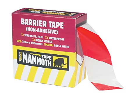 Hazard Warning Non Adhesive Barrier Tape 72mm x 500m 10, RED//White