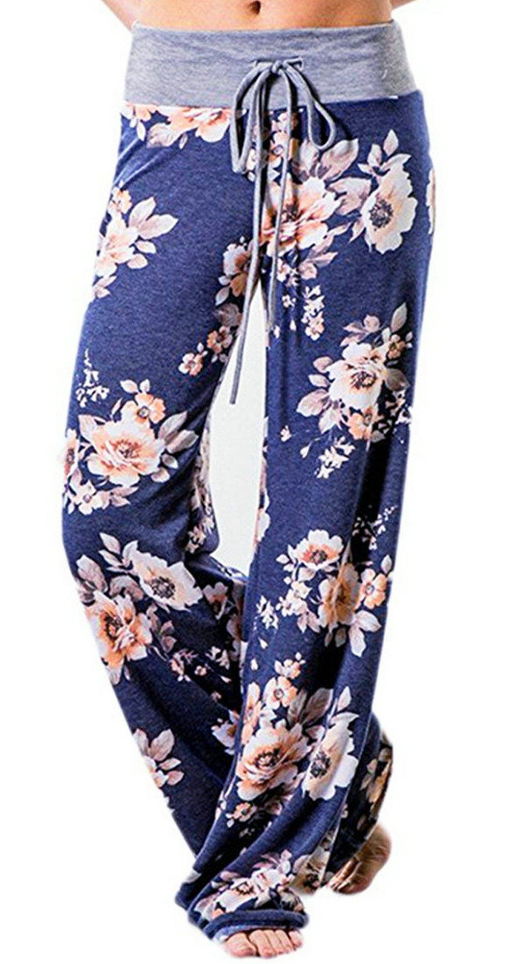 Kafadala Women's Pajama Bottom Sleep Lounge Palazzo Yoga Pants Striped Wide Leg (Tag L(US 8), Blue)