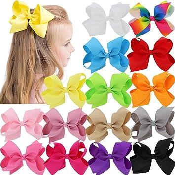 "4.5/"" Hair Bow Clips Grosgrain Ribbon Boutique bows For Girls Babies Teens Kids"