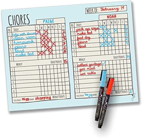Set Goal and Reward 10 Chore Spaces Write on With Dry Erase Markers Weekly Chore Chart for Kids Many Color Options