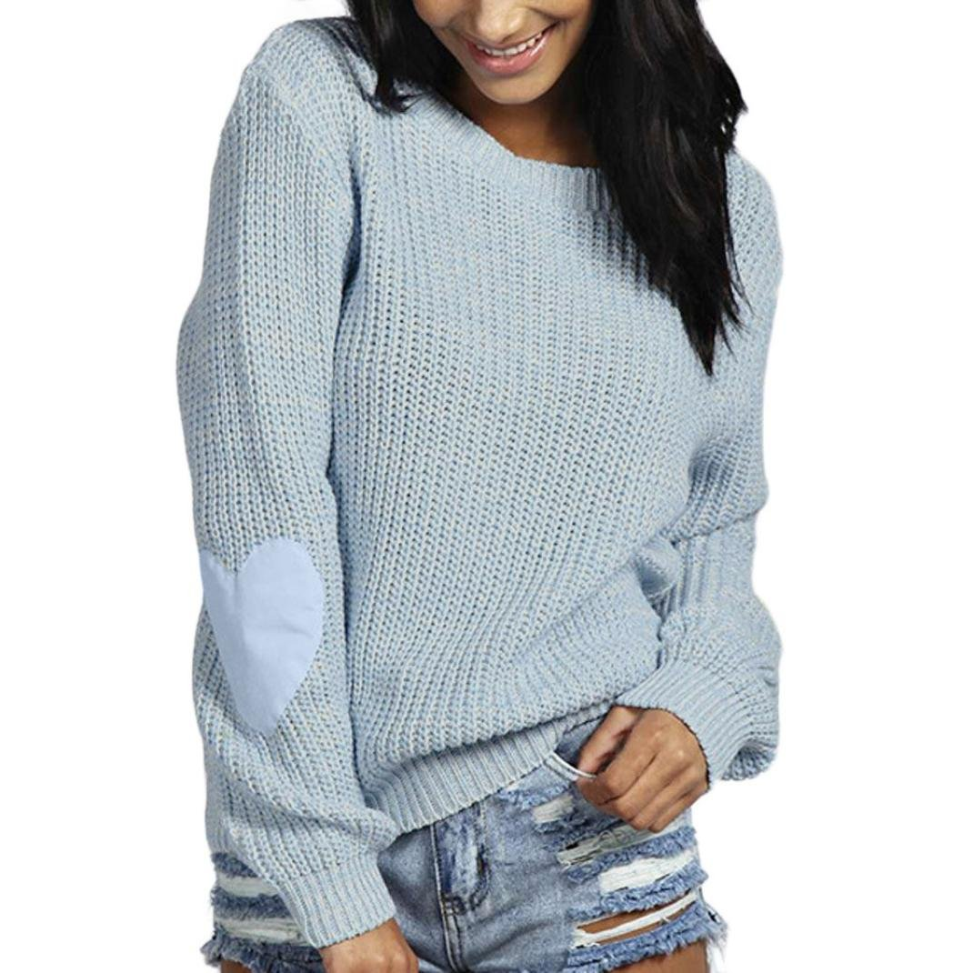 Napoo Women Pullover Sweatshirt, Hearted Print Sleeve Loose Knitted Sweater Knitwear (S, Light Blue) by Napoo