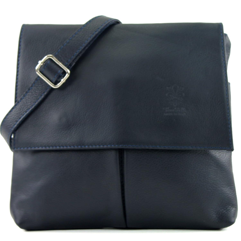 Italiensk väska axelväska messenger satchel damväska äkta läder T63 Mörkblått