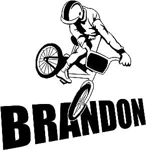 Bmx Bike Bikers Wall Room Personalized Custom Boy Name Vinyl Wall Decal Sticker (X-LARGE: 27