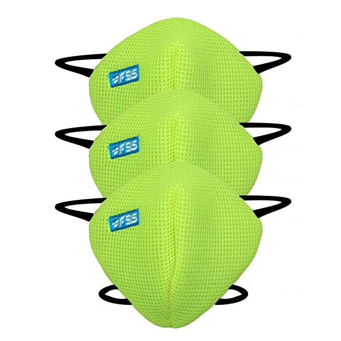 F Gear Pearl F95 Mask F Green Color 7 layer ISO CE SITRA lab certified >95% Bacteria Filtration Pack of 3