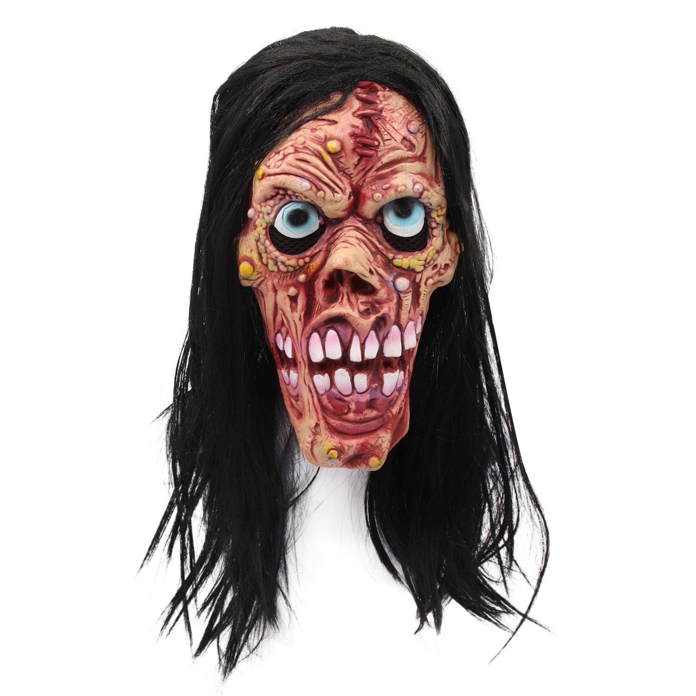molezu ウィックデビルマスク、顔面にたくさんのポックマークのマスク、ブルーアイとロングヘア、不気味なゾンビモンスターマスク、ハロウィン用   B07D8MXC1K