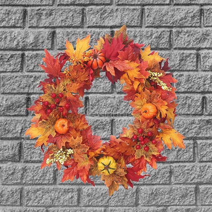 Sayala Guirnalda Decorativa de la Puerta de Halloween,Halloween Ornaments Thanksgiving Maple Leaf Wreath Decorativa de Halloween